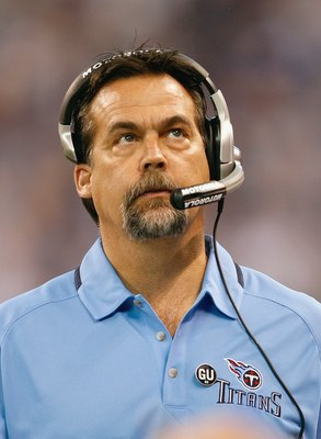 INDIANAPOLIS - DECEMBER 28:  Head caoch Jeff Fisher of the Tennessee Titans looks on from the sidelines during the game against the Indianapolis Colts on December 28, 2008 at Lucas Oil Stadium in Indianapolis, Indiana. (Photo by: Jamie Squire/Getty Images