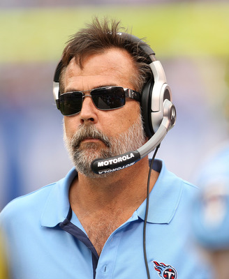 EAST RUTHERFORD, NJ - SEPTEMBER 26:   Tennessee Titans head coach Jeff Fisher  during a game against the New York Giants at New Meadowlands Stadium on September 26, 2010 in East Rutherford, NJ.  (Photo by Mike Ehrmann/Getty Images)