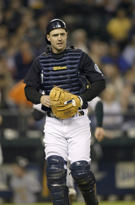 SEATTLE - SEPTEMBER 30:  Catcher Dan Wilson #6 of the Seattle Mariners walks on the field during a game against the Oakland Athletics on September 30 2005 at Safeco Field in Seattle Washington. The Mariners won 4-1. Wilson came back from knee surgery to m