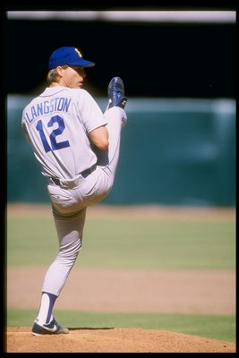 1987:  Pitcher Mark Langston of the Seattle Mariners winds up for the pitch during a game against the California Angels at Anaheim Stadium in Anaheim, California. Mandatory Credit: Rick Stewart  /Allsport
