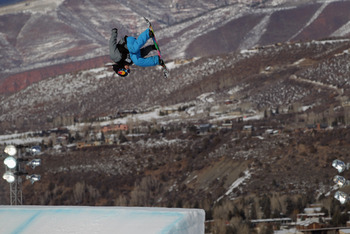 ASPEN, CO - JANUARY 30:  Sebastien Toutant of Canada soars to victory in the Men's Snowboard Slopestyle at Winter X Games 15 at Buttermilk Mountain on January 30, 2011 in Aspen, Colorado.  (Photo by Doug Pensinger/Getty Images)