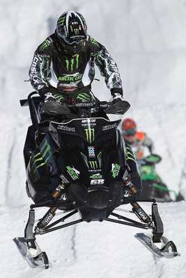 ASPEN, CO - JANUARY 29:  Tucker Hibbert of Pelican Rapids, Minnesots practices for the Snowmobile SnoCross during Winter X Games 15 at Buttermilk Mountain on January 29, 2011 in Aspen, Colorado. Hibbert will compete for his sixth gold medal in the event o