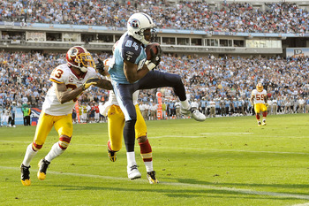 NASHVILLE, TN - NOVEMBER 21:  Randy Moss #84 of the Tennessee Titans has a touchdown pass called back for offensive pass interference against the Washington Redskins at LP Field on November 21, 2010 in Nashville, Tennessee. The Redskins won 19-16 in overt