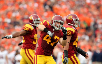 PASADENA, CA - JANUARY 01:  Clay Matthews #47 of the USC Trojans celebrates after the Illinois Fighting Illini missed a first quarter field goal attempt during the Rose Bowl presented by Citi at the Rose Bowl on January 1, 2008 in Pasadena, California. Th
