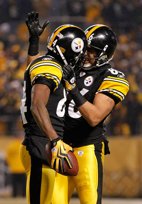PITTSBURGH, PA - JANUARY 15:  Wide receivers Antonio Brown #84 and Hines Ward #86 of the Pittsburgh Steelers react after a play against the Baltimore Ravens in the AFC Divisional Playoff Game at Heinz Field on January 15, 2011 in Pittsburgh, Pennsylvania.