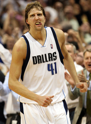 DALLAS - MAY 11:  Forward Dirk Nowtizki #41 of the Dallas Mavericks reacts after scoring to take a two-point lead against the Denver Nuggets in Game Four of the Western Conference Semifinals during the 2009 NBA Playoffs at American Airlines Center on May