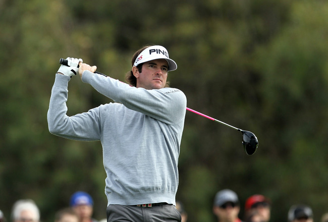 LA JOLLA, CA - JANUARY 30:  Bubba Watson hits his tee shot on the 12th hole during the final round of the Farmers Insurance Open at Torrey Pines South Course on January 30, 2011 in La Jolla, California.  (Photo by Stephen Dunn/Getty Images)