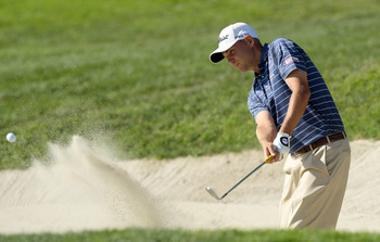 LA JOLLA, CA - JANUARY 29:  Bill Haas hits out of the 6th green bunker during Round 3 of the Farmers Insurance Open at Torrey Pines on January 29, 2011 in La Jolla, California. (Photo by Donald Miralle/Getty Images)