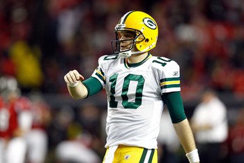 ATLANTA, GA - JANUARY 15:  Matt Flynn #10 of the Green Bay Packers looks on against the Atlanta Falcons during their 2011 NFC divisional playoff game at Georgia Dome on January 15, 2011 in Atlanta, Georgia.  (Photo by Chris Graythen/Getty Images)