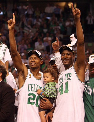BOSTON - JUNE 17:  Ray Allen #20 and James Posey #41 of the Boston Celtics celebrate after defeating the Los Angeles Lakers in Game Six of the 2008 NBA Finals on June 17, 2008 at TD Banknorth Garden in Boston, Massachusetts. NOTE TO USER: User expressly a