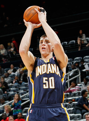ATLANTA, GA - DECEMBER 11:  Tyler Hansbrough #50 of the Indiana Pacers against the Atlanta Hawks at Philips Arena on December 11, 2010 in Atlanta, Georgia.  NOTE TO USER: User expressly acknowledges and agrees that, by downloading and/or using this Photog