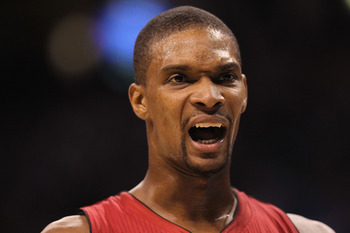 OKLAHOMA CITY, OK - JANUARY 30:  Chris Bosh #1 of the Miami Heat during play against the Oklahoma City Thunder at Ford Center on January 30, 2011 in Oklahoma City, Oklahoma.  NOTE TO USER: User expressly acknowledges and agrees that, by downloading and or