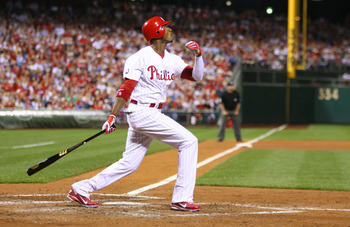 PHILADELPHIA - SEPTEMBER 25: Right fielder Domonic Brown #9 of the Philadelphia Phillies bats during a game against the New York Mets at Citizens Bank Park on September 25, 2010 in Philadelphia, Pennsylvania. The Mets won 5-2. (Photo by Hunter Martin/Gett