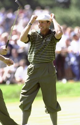 24 Sep 1999:  Payne Stewart of the USA celebrates during the 33rd Ryder Cup match played at the Brookline CC in Boston, Massachusetts, USA. \ Mandatory Credit: Craig Jones /Allsport