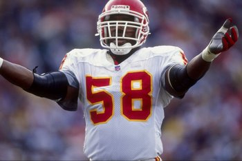14 Dec 1997:  Outside lineback Derrick Thomas #58 of the Kansas City Chiefs celebrates during a game against the San Diego Chargers at the Qualcomm Stadium in San Diego, California. The Chiefs defeated the Chargers 29-7. Mandatory Credit: Jed Jacobsohn  /