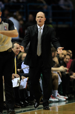 MILWAUKEE, WI - DECEMBER 06: Head coach Scott Skiles of the Milwaukee Bucks complains to a referee during a game against the Miami Heat at the Bradley Center on December 6, 2010 in Milwaukee, Wisconsin. The Heat defeated the Bucks 88-78. NOTE TO USER: Use