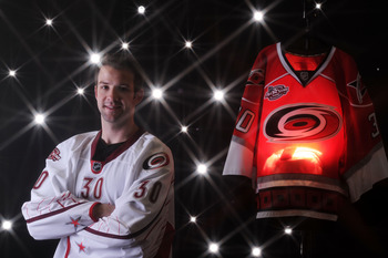 RALEIGH, NC - JANUARY 30:  (EDITORS NOTE: A special effects camera filter was used for this image.) Cam Ward #30 of the Carolina Hurricanes for Team Staal poses for a portrait before the 58th NHL All-Star Game at RBC Center on January 30, 2011 in Raleigh,
