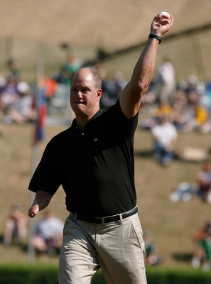 WILLIAMSPORT, PA - AUGUST 21: Former big league pitcher Jim Abbott throws out the ceremonial first pitch before Latin America takes on Mexico during the international semi-final at Lamade Stadium on August 21, 2008 in Williamsport, Pennsylvania. (Photo by