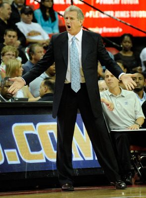 LAS VEGAS - OCTOBER 15:  Head coach Paul Westphal of the Sacramento Kings argues a call during their preseason game against the Los Angeles Lakers at the Thomas & Mack Center October 15, 2009 in Las Vegas, Nevada. NOTE TO USER: User expressly acknowledges