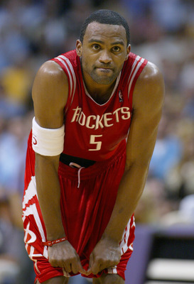 LOS ANGELES - APRIL 19:  Cuttino Mobley #5 of the Houston Rockets rests in Game two of the Western Conference Quarterfinals against the Los Angeles Lakers during the 2004 NBA Playoffs at Staples Center on April 17, 2004 in Los Angeles, California.  The La