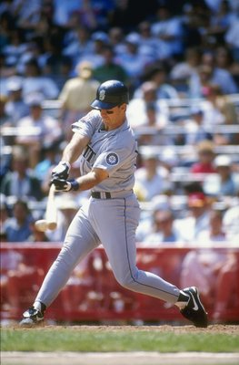 20 Jul 1995:  Tino Martinez of the Seattle Mariners at bat during their 4-2 win over the Milwaukee Brewers at Milwaukee County Stadium in Milwaukee, Wisconsin. Mandatory Credit: Jonathan Daniel  /Allsport