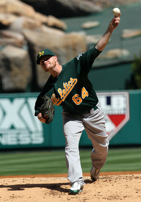 ANAHEIM, CA - SEPTEMBER 29: Bobby Cramer #64 of the Oakland Athletics throws a pitch against the Los Angeles Angels of Anaheim on September 29, 2010 at Angel Stadium in Anaheim, California.  (Photo by Stephen Dunn/Getty Images)