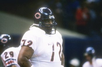 26  Jan 1986:  Defensive lineman William (Refrigerator) Perry of the Chicago Bears watches  from the side during the Super Bowl  XX  game with the New England Patriots at the Louisiana Superdome in New Orleans, Louisiana.  The Bears won the game, 46-10.