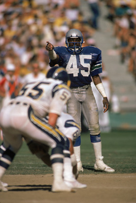 SAN DIEGO - SEPTEMBER 15:  Safety Kenny Easley #45 of the Seattle Seahawks points during the NFL game against the San Diego Chargers at Jack Murphy Stadium on September 15, 1985 in San Diego, California.  The Seahawks defeated the chargers 49-35.  (Photo