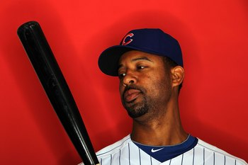 MESA, AZ - MARCH 01:  Derrek Lee of the Chicago Cubs poses for a photo during Spring Training Media Photo Day at Fitch Park on March 1, 2010 in Mesa, Arizona.  (Photo by Ronald Martinez/Getty Images)