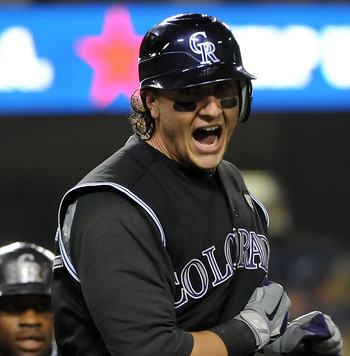 LOS ANGELES, CA - SEPTEMBER 17:  Troy Tulowitzki #2 of the Colorado Rockies celebrates after hitting a two run homerun in the first inning against the Los Angeles Dodgers at Dodger Stadium on September 17, 2010 in Los Angeles, California.  (Photo by Lisa