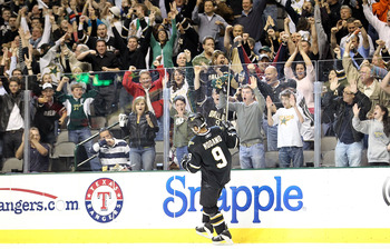 DALLAS - APRIL 08:  Center Mike Modano #9 of the Dallas Stars celebrate after scoring a goal during a shootout against the Anaheim Ducks at American Airlines Center on April 8, 2010 in Dallas, Texas.  (Photo by Ronald Martinez/Getty Images)