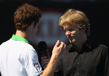 MELBOURNE, AUSTRALIA - JANUARY 24:  Andy Murray of Great Britain is interviewed by Jim Courier after winning his fourth round match against Jurgen Melzer of Austria during day eight of the 2011 Australian Open at Melbourne Park on January 24, 2011 in Melb