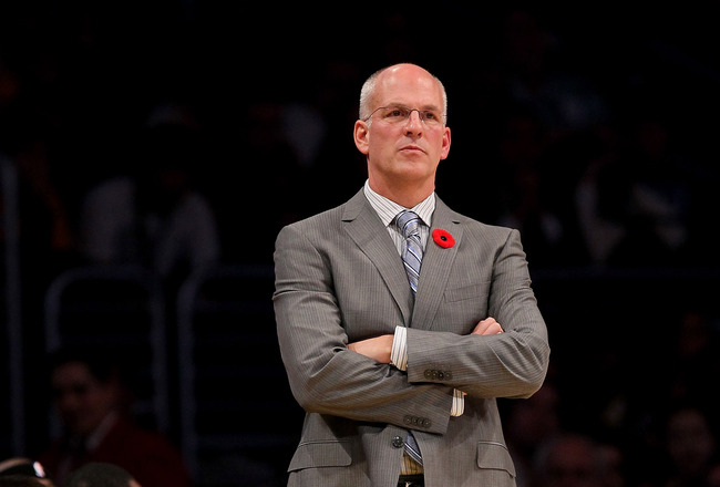 LOS ANGELES - NOVEMBER 5:  Head coach Jay Triano of the Toronto Raptors looks on during the game with the Los Angeles Lakers at Staples Center on November 5, 2010 in Los Angeles, California.   NOTE TO USER: User expressly acknowledges and agrees that, by