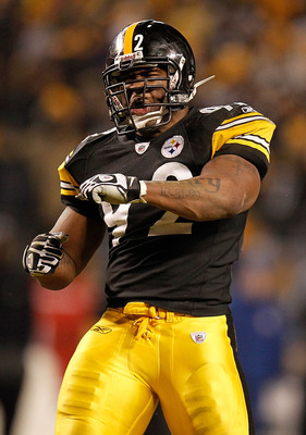 PITTSBURGH, PA - JANUARY 15:  Linebacker James Harrison #92 of the Pittsburgh Steelers celebrates after a play against the Baltimore Ravens during the AFC Divisional Playoff Game at Heinz Field on January 15, 2011 in Pittsburgh, Pennsylvania.  (Photo by G