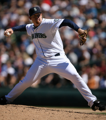SEATTLE - JULY 20:  J.J. Putz #20 of the Seattle Mariners pitches against the Cleveland Indians on July 20, 2008 at Safeco Field in Seattle, Washington. (Photo by Otto Greule Jr/Getty Images)