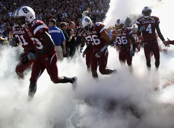COLUMBIA, SC - OCTOBER 30:  The South Carolina Gamecocks run on to the field against the Tennessee Volunteers at Williams-Brice Stadium on October 30, 2010 in Columbia, South Carolina.  (Photo by Streeter Lecka/Getty Images)