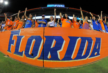 GAINESVILLE, FL - SEPTEMBER 25:  Florida fans cheer late in the fourth quarter as the Florida Gators take on the Kentucky Wildcats at Ben Hill Griffin Stadium on September 25, 2010 in Gainesville, Florida. Florida defeated Kentucky 48-14 for head coach Ur