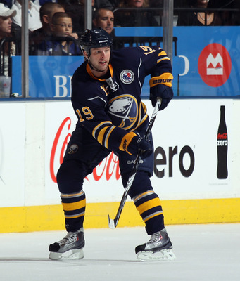 TORONTO, ON - NOVEMBER 06:  Tim Connolly #19 of the Buffalo Sabres skates against the Toronto Maple Leaf at the Air Canada Centre on November 6, 2010 in Toronto, Canada.  (Photo by Bruce Bennett/Getty Images)