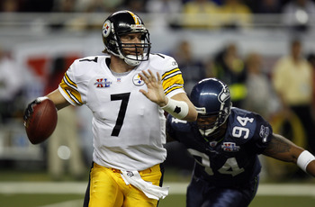 Ben Roethlisberger of the Steelers during Super Bowl XL between the Pittsburgh Steelers and Seattle Seahawks at Ford Field in Detroit, Michigan on February 5, 2006. (Photo by Allen Kee/Getty Images)