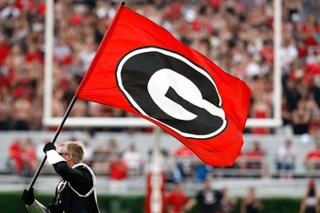 ATHENS, GA - SEPTEMBER 12:  A flag of the Georgia Bulldogs is shown before the game against the South Carolina Gamecocks at Sanford Stadium on September 12, 2009 in Athens, Georgia.  (Photo by Kevin C. Cox/Getty Images)