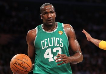 LOS ANGELES, CA - JUNE 15:  Kendrick Perkins #43 of the Boston Celtics looks on while taking on the Los Angeles Lakers in Game Six of the 2010 NBA Finals at Staples Center on June 15, 2010 in Los Angeles, California.  NOTE TO USER: User expressly acknowle