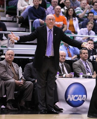 SALT LAKE CITY - MARCH 25:  Head coach Jim Boeheim of the Syracuse Orange reacts against the Butler Bulldogs during the west regional semifinal of the 2010 NCAA men's basketball tournament at the Energy Solutions Arena on March 25, 2010 in Salt Lake City,
