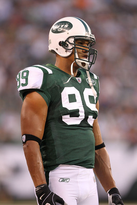 EAST RUTHERFORD, NJ - AUGUST 27:  Jason Taylor #99 of the New York Jets in action against  the Washington Redskins  during their preseason game on August 27, 2010 at the New Meadowlands Stadium  in East Rutherford, New Jersey.  (Photo by Al Bello/Getty Im