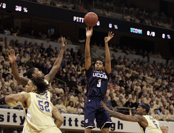 PITTSBURGH, PA - DECEMBER 27:  Jeremy Lamb #3 of the Connecticut Huskies pulls up for a three against the Pittsburgh Panthers at Petersen Events Center on December 27, 2010 in Pittsburgh, Pennsylvania.  (Photo by Justin K. Aller/Getty Images)