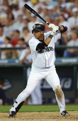 SEATTLE - JUN 29:  Shortstop Carlos Guillen #8 of the Seattle Mariners readies for the pitch during interleague play against the San Diego Padres at Safeco Field on June 29, 2003 in Seattle, Washington.  The Padres defeated the Mariners 8-6.  (Photo by Ot