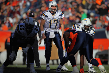 DENVER - JANUARY 02:  Quarterback Philip Rivers #17 of the San Diego Chargers runs the offense against the Denver Broncos at INVESCO Field at Mile High on January 2, 2011 in Denver, Colorado. The Chargers defeated the Broncos 33-28.  (Photo by Doug Pensin