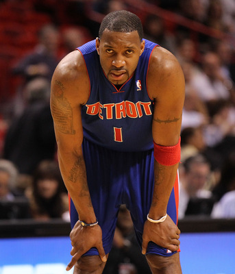 MIAMI, FL - JANUARY 28: Tracy McGrady #1 of of the Detroit Pistons looks on during a game against the Miami Heat at American Airlines Arena on January 28, 2011 in Miami, Florida. NOTE TO USER: User expressly acknowledges and agrees that, by downloading an