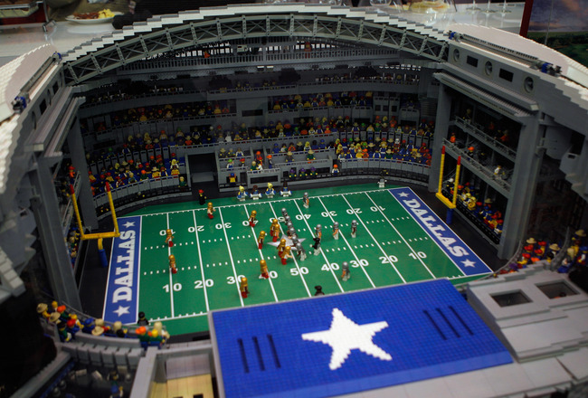 DALLAS, TX - FEBRUARY 02:  A Lego version of Cowboys Stadium is displayed February 2, 2011 in Dallas, Texas. The Green Bay Packers will play the Pittsburgh Steelers in Super Bowl XLV on February 6, 2011 at Cowboys Stadium in Arlington, Texas.  (Photo by S
