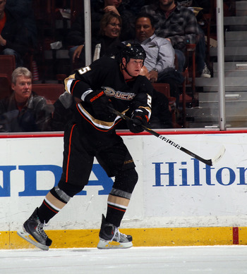 ANAHEIM, CA - JANUARY 12: Andy Sutton #25 of the Anaheim Ducks skates against the St. Louis Blues at the Honda Center on January 12, 2011 in Anaheim, California.  (Photo by Bruce Bennett/Getty Images)