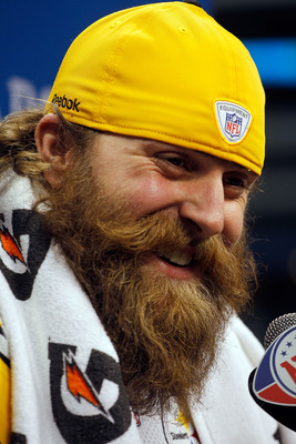 ARLINGTON, TX - FEBRUARY 01:  Brett Keisel #99 of the Pittsburgh Steelers answers questions during Super Bowl XLV Media Day ahead of Super Bowl XLV at Cowboys Stadium on February 1, 2011 in Arlington, Texas. The Pittsburgh Steelers will play the Green Bay